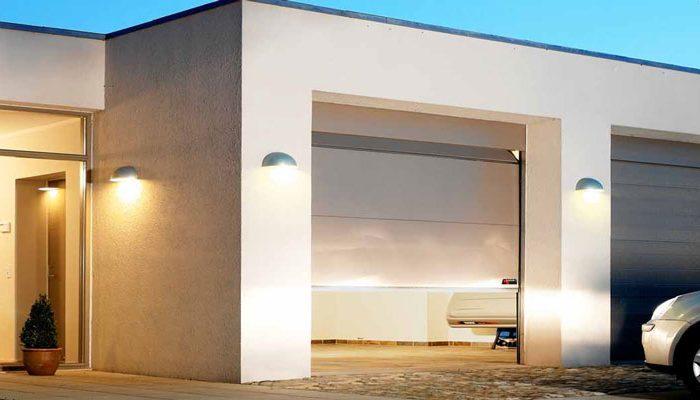 Private garage door black double door
