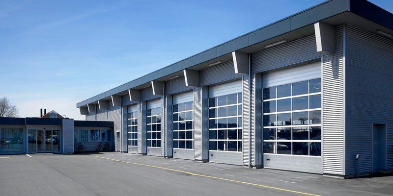 Four glass industrial doors grey
