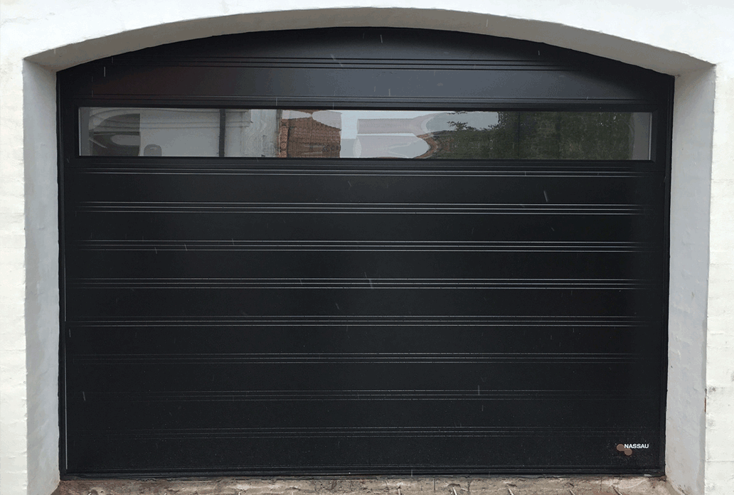 Black NASSAU Softline Garage Door with Panorame Window