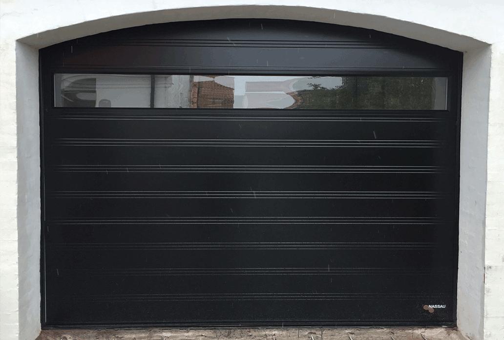 Black NASSAU Softline Garage Door with Panorame Window