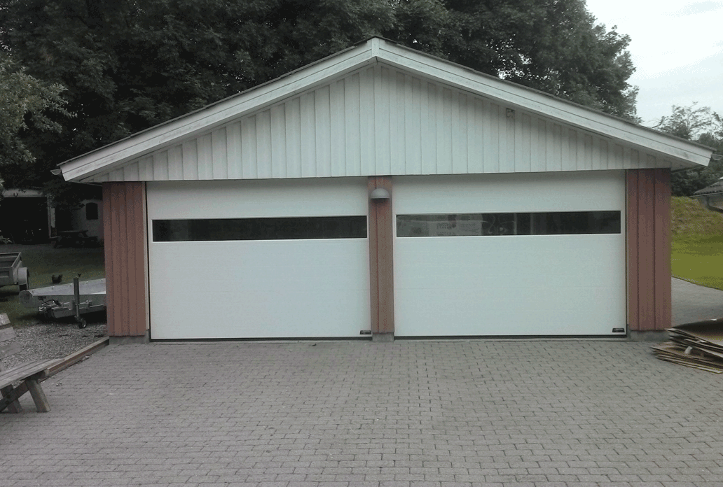 Double White NASSAU Garage Door With Panorama Windows