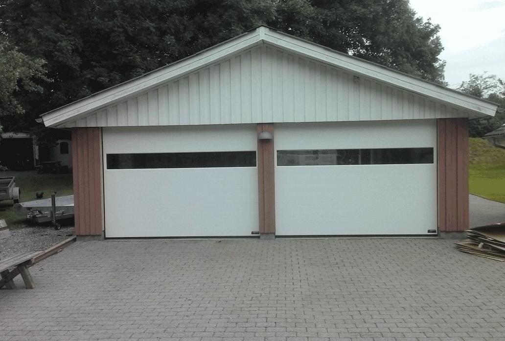 Double White NASSAU Garage Door With Panorama Windows