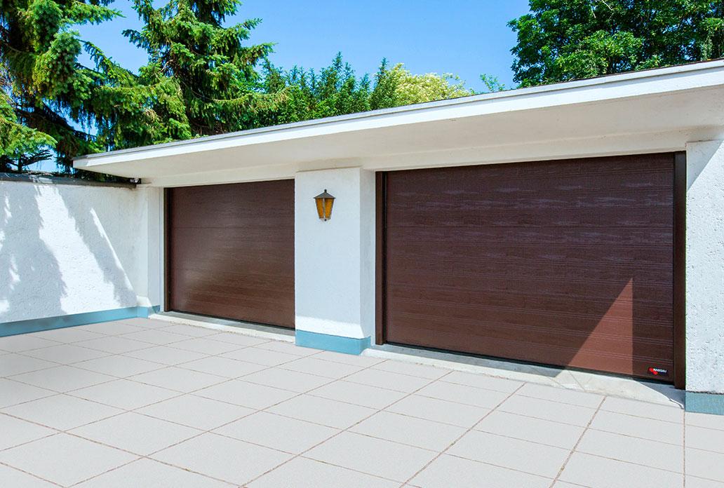 Double Brown NASSAU Woodgrain Garage Doors