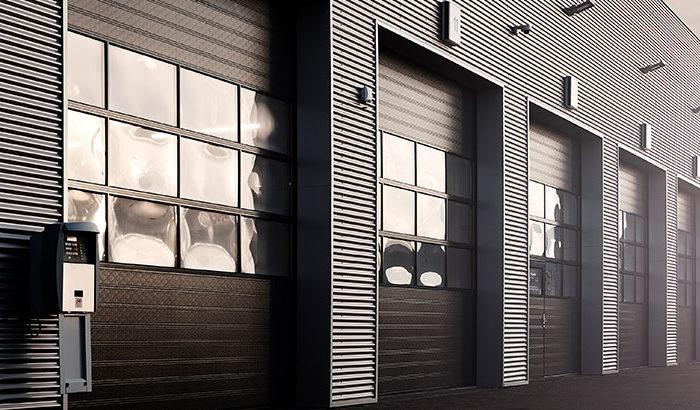 Industrial door header black with windows