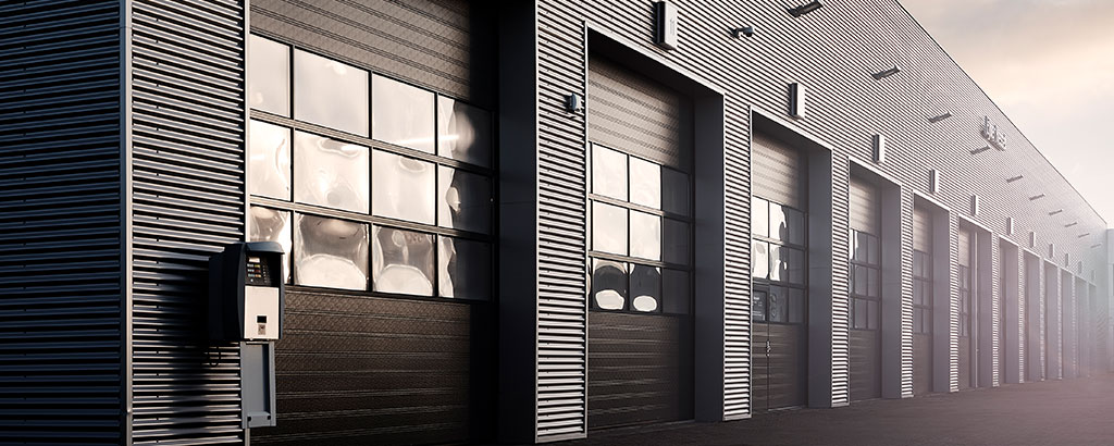 Industrial door header black with windows
